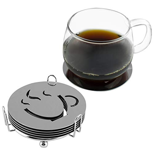 Metal Coaster Set Case - MyGift Modern Round Stainless Steel Drink Coasters with Holder Rack, Set of 6