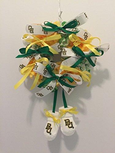 Satin Bear Green - Collegiate Newborn Wreath - Baylor University - Bears - BU - Yellow and Green/White Carnations - Baby Gift - Nursery Decor