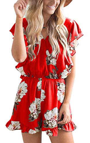 Angashion Women's Jumpsuits - Ruffle Cap Sleeves Wrap V Neck Floral Print Elastic Waist Short Rompers Red M ()