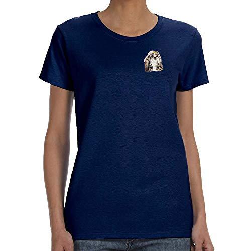 (Cherrybrook Dog Breed Embroidered Womens T-Shirts - X-Large - Navy - Shih Tzu)