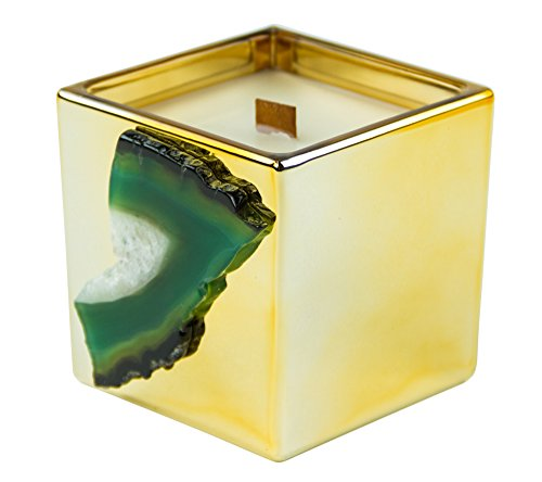 Exclusive Gold Mineral Agate Wooden Wick Candle with Gift Box, Siberian Fir (Agate Candle)