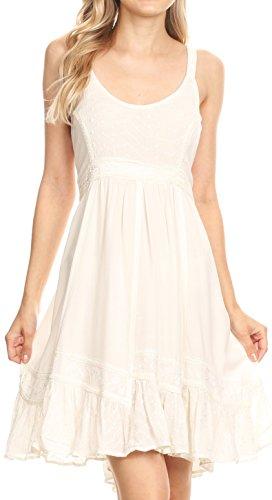 Sakkas BD-800 - Mandi Womens Summer Casual Bohemian Sundress Sleeveless Short Mini Dress - Natural - XL by Sakkas