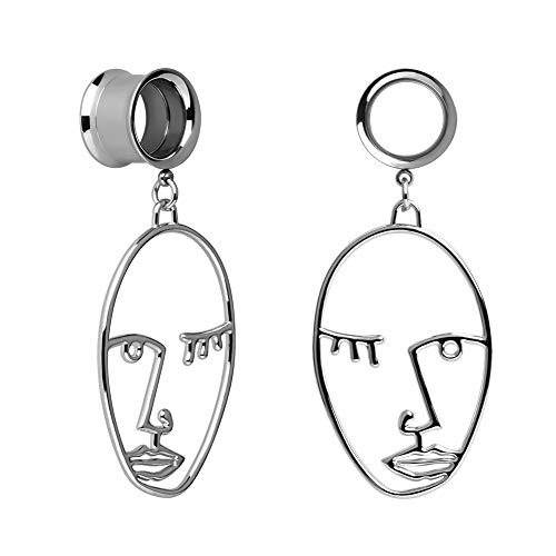 KUBOOZ Ear Plug Tunnel Gauge Stretcher Piercing Face Design Pendant Stainless Steel Screw 00G