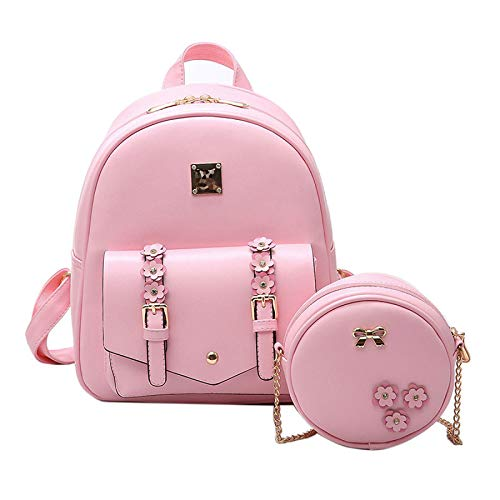 For Women Mini Shoulder Backpack Leather 2 Bag Girls Backpacks Pink Bowknot Pieces PU School zrqpw0zn