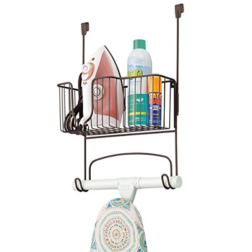 mDesign Wall Mount Ironing Board Holder with Large Storage Basket - Holds Iron, Board, Spray Bottles, Starch, Fabric Refresher Iron for Laundry Rooms - Durable Steel, Bronze