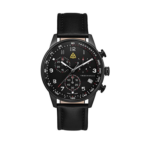 Aviator Black Chronograph - Swiss Made Watch with Black Leather Strap