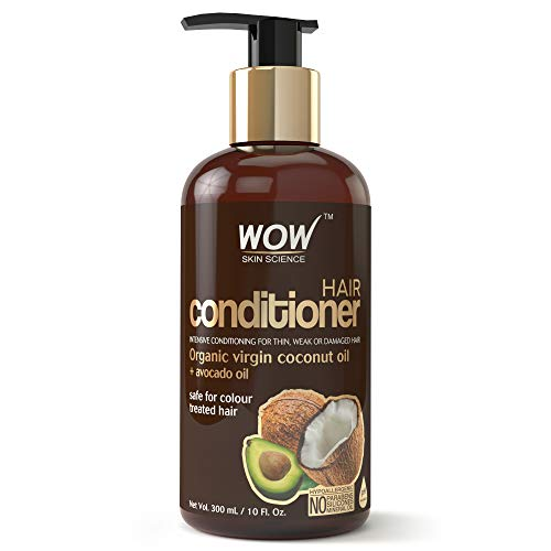 WOW Hair Conditioner - Deep Hair Conditioning for Dry Thin & Damaged Hair - Enriched with Coconut, Avocado Oil, Moroccan Argan Oil, Jojoba Oil - Vitamins B5 & E - Paraben and Sulfate Free - 10 Fl Oz (Rinsing Your Hair With Apple Cider Vinegar)