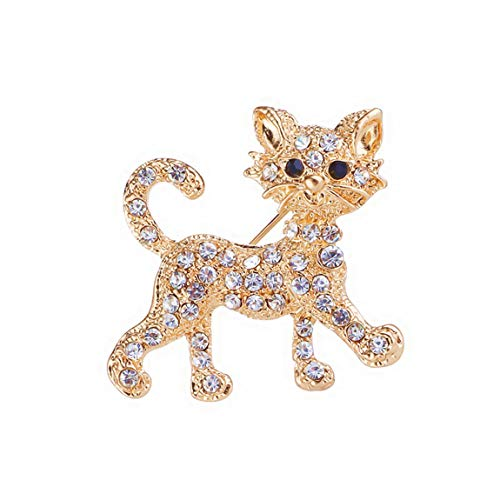 Weiy Glittering Crystal Kitten Cat Brooch Pin Fahsion Charming Lovely Stylish Rhinestone Badge Brooch Suit Shirt Sweater Pin Jeans Clothes Bags Decoration Jewelry Accessories