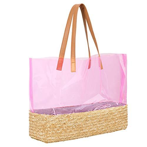 Tote Pink Straw Handbags - LUKATU Straw Woven Tote Bag Women Transparent Shoulder Bag Summer Beach Handbag Purse for Travel