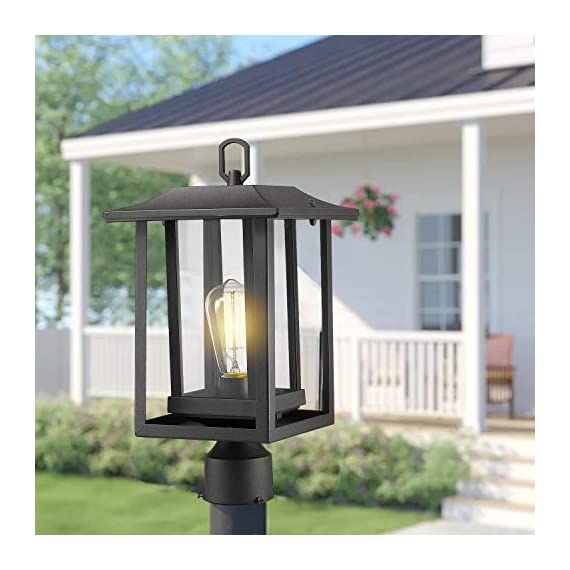 Beionxii Outdoor Post Light Fixture, Set of 2 Large Exterior Post Lantern with 3-Inch Pier Mount Base, Sand Textured… - ✅ INDUSTRIAL STYLE WITH MODERN APPEAL: Mix of modern and industrial elements, This outdoor pole lamp features an open metal outer cage which enhances its line silhouette. The perfect addition to your exterior ensemble with this pole lantern light. ✅ TWO MOUNTING WAYS: Includes pier mount base is available for both Post Mount and Pier Mount. This outdoor pier mount light is completely weather-resistant for any outdoor environment, perfect for garden, backyard, courtyard, patio, balcony, porch, pathway or entryway. ✅ BULB REQUIREMENTS: This outdoor pillar light is fully compatible with E26 Base LED, Incandescent, CFL Bulbs (60w Max, Bulb NOT included). Recommend using LED Vintage Style Bulb. - patio, outdoor-lights, outdoor-decor - 41jLFN9 PJL. SS570  -