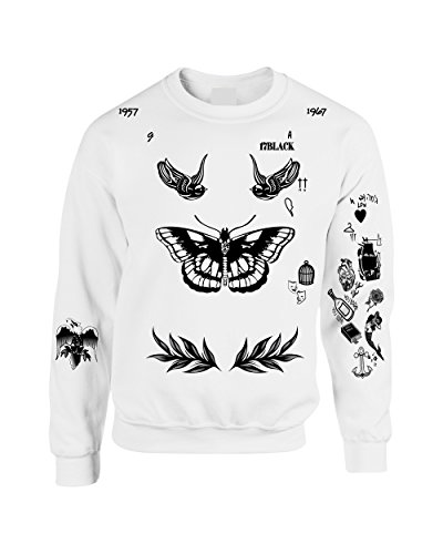 (Allntrends Adult Sweatshirt Harry Tattoos Cool Top Trendy Gift Cute (M, White))