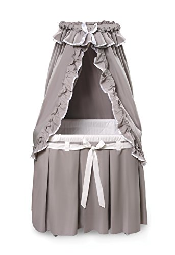 Badger Basket Majesty Baby Bassinet with Canopy Bedding, Gray/White (Baby Bassinet Basket)
