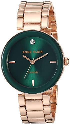(Anne Klein Women's AK/1362GNRG Quartz Metal and Alloy Rose Gold-Toned Dress Watch)