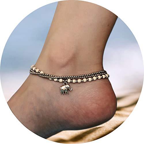JANE JIRA Silver-tone Elephant Brass Charm Ankle Bracelet Howlite Stone Cute Boho Beach Anklets Women -