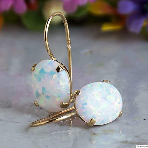 White Opal Drop Earrings - Dainty 14K Solid Yellow Gold Earrings, 8x10mm Gemstone Dangle Bridal Earrings with October Birthstone, Elliptic Oval Gemstone - Fine Handmade Jewelry for Brides & Weddings ()