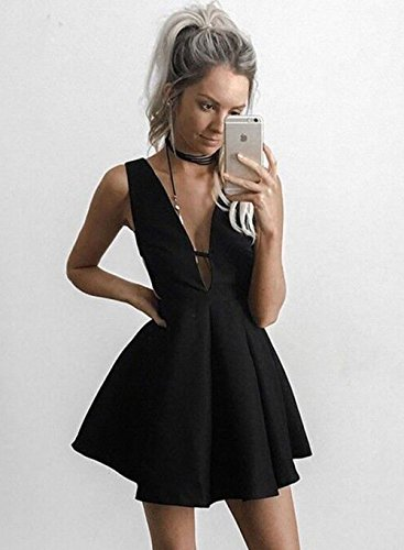 Short Womens Black Satin Neck Homecoming Mini Prom Cocktail Dress V BR3 Party Gowns q1xa1Xw4R