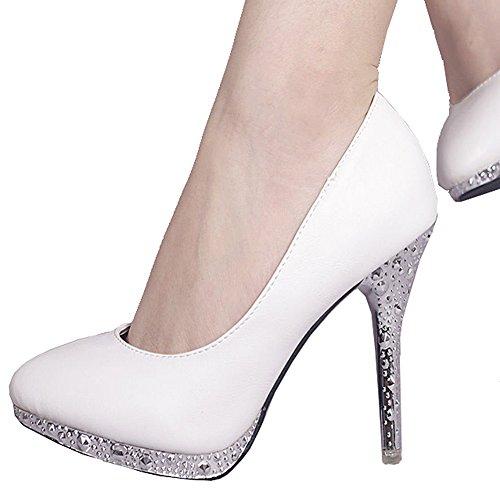 ... Getmorebeauty Womenu0027s Off White Glitter Dress Wedding Shoes High Heel.  Sale