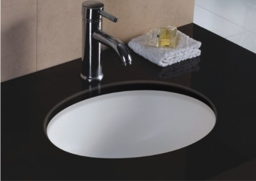 Wells Oval 17 x 14 Ceramic Undermount Bathroom Sink Vanity White by SINKS, ETC