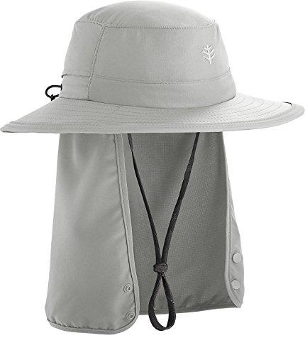 Coolibar UPF 50+ Kids' Convertible Boating Hat - Sun Protective (Small/Medium- Light Grey)