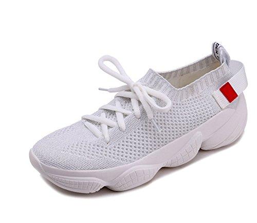 XIE Otoño Verano Volando Tejer Zapatos Casuales de Las Mujeres Salvajes Zapatos de Mujer de Encaje Grueso con Cordones Zapatos Casuales de Moda Casual Mujer 35-39 white