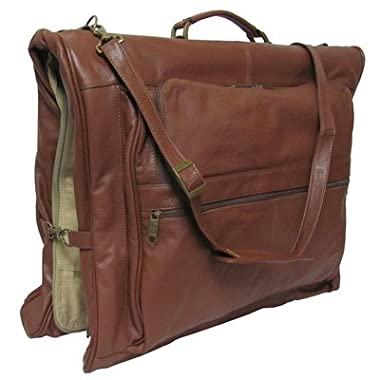 AmeriLeather Leather Leather Three-suit Garment Bag - Brown