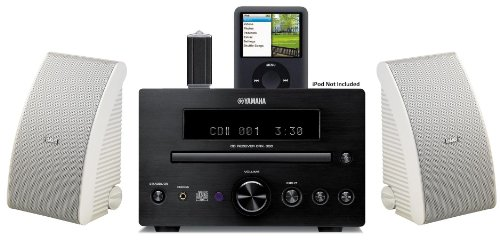 Ipod Docking Station With Cd Player - Yamaha Micro Receiver Sound System with Integrated iPod Docking Station, High Quality CD Player, FM Radio with 30 Preset Stations, Flash Drive USB Port, Remote Control, All Weather Indoor / Outdoor Speakers (Speakers are White) & 50ft 16 AWG Speaker Wire