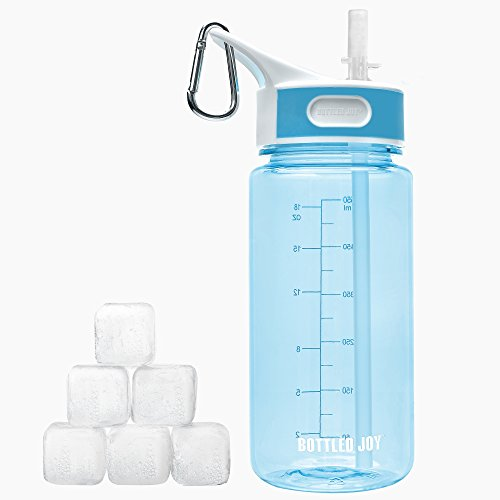 BOTTLED JOY Kids Water Bottle with Straw Handle and 6pcs ice Cubes,Back to School Student Water Cup, Wide Mouth 100% BPA-Free Tritan Bite Valve Plastic Water Bottle 20oz 600ml (Blue)