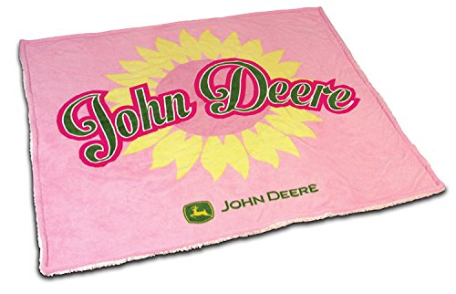 - John Deere Pink Sunflower Sherpa Fleece Throw Blanket