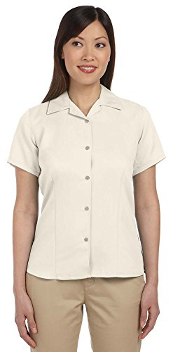 Harriton Ladies Bahama Cord Camp Shirt, Medium, CREME