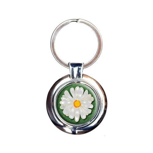 Daisy Flower On Green Keychain Key -