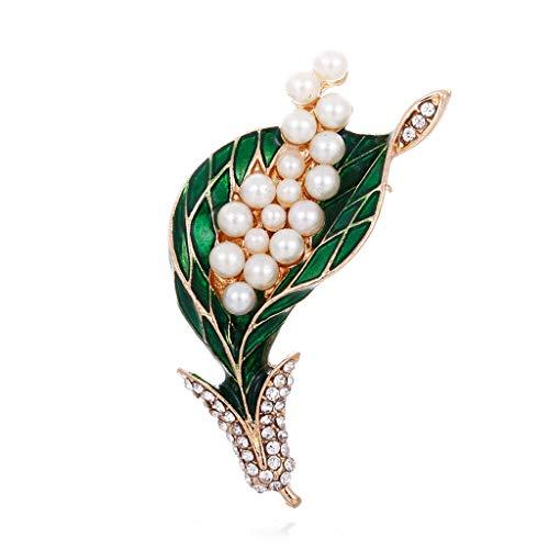 - YLCOYO New Men and Women Suit Green Enamel Diamond Lily Flower Pearl Brooch