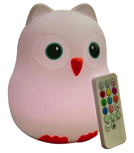 Cheap Goodnight Owl Night Light for Kids & Toddlers – Multi-color LEDs (9 colors!), BPA-free silicone, rechargeable battery, 5 levels of brightness, auto-off timer + remote control. Super Cute and Fun!