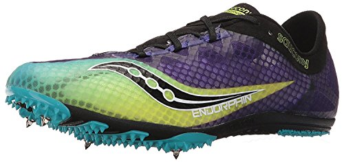 Saucony Mens Endorphin Track Spike Racing Shoe, Purple/Citron/Black, 44 D(M) EU/9 D(M) UK