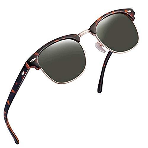 FEIUD SUNGLASSES FOR MEN WOMEN - Half Frame Polarized Classic fashion womens mens sunglasses FD4003 (Leopard green, 2.04)]()