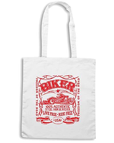 LIVE TB0073 Shopper Bianca FREE FREE Borsa BIKER RIDE IwUpCxqE