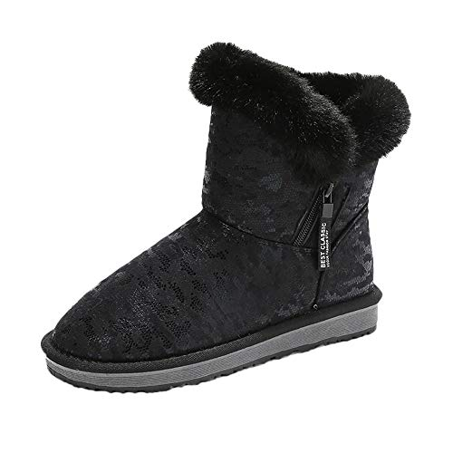 Mysky Fashion Women Retro Leopard Print Bread Cotton Shoes Ladies Leisure Bling Keep Warm Snow Boots Black