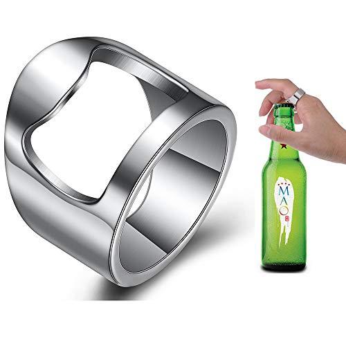 VQYSKO Beer Bar Tool Creative Versatile Stainless Steel Finger Bottle Opener Ring Party Ring (7)