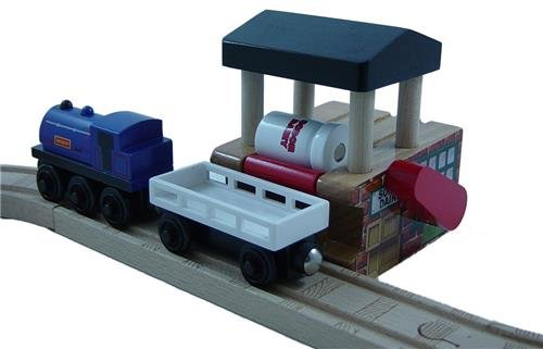 Dairy Loader and White Cargo Car - Thomas Wooden Railway Tank Train Engine - Brand New - Thomas Aquarium Railway Wooden