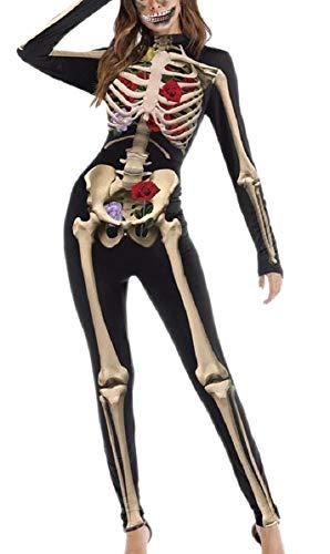 YIhujiuben Women's One Piece Halloween Skull Skeleton Print Leotard Top Costume Cosplay Catsuit 1 L ()
