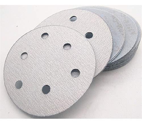 Maslin 100Pcs 5'' 125MM with 6 hole White Sander Sand Paper Sanding Disc Sanding Sheets - (Grit: 60)
