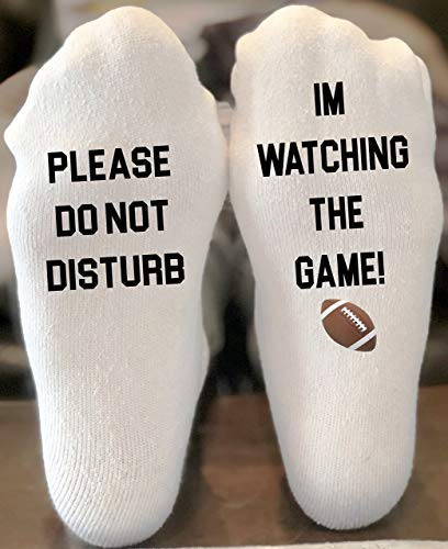 Please Do Not Disturb Im Watching The Game If You Can Read This Funny Novelty Funky Crew Socks Men Women Christmas Gifts Slipper Socks