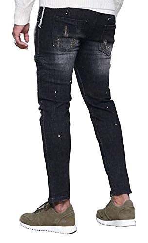 Taglie Jeans Biker Fit Uomo Colour Distressed Da Hx Vintage Casual Pantaloni Fashion Straight Denim Strappati Abiti Comode Slim 8nwz6gOqw