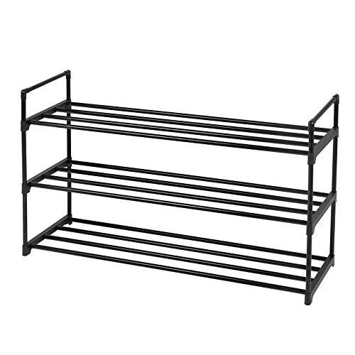 "SONGMICS 3-Tier Shoe Rack Metal Shoe Tower Shelf Storage Organizer Cabinet Hold up to 15 Pairs Shoes 36 1/8'' L x 11 1/2'' W x 20 7/8""H Black ULSA13BK by SONGMICS"
