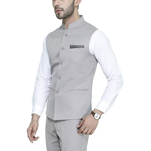 41jLJgCGlCL. SS500  - MANQ Men's Band Collar Slim Fit Formal/Party Waist Coat