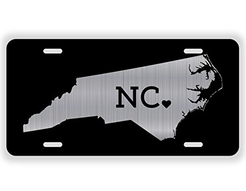 Jmm Ind North Carolina State Abbreviation Love   Vanity License Plate   Etched Aluminum With Black Background   12 Inches By 6 Inches   Elp054