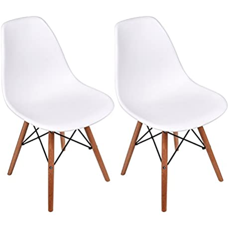 Set Of 2 Eames Style Plastic Molded Side Chairs Modern Natural Wood Wooden Leg White Dining Chairs