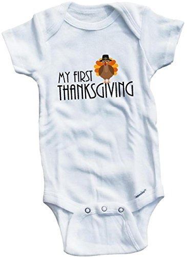 Baby Tee Time Boys' My first Thanksgiving funny One piece 12-18 Months White