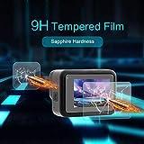 Shan-S 2Set 9H Tempered Glass Film Dual Screen Protector Camera Lens for Go-pro 8 Black 4K Camera (2PC Screen Glass Film +4PC Lens Protector Glass Film)