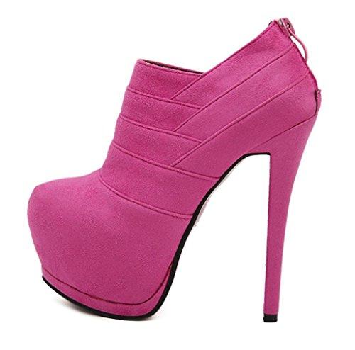 Chelsea Personality elegant Boots shoes Booties Ankle Heel Womens Ladies Rose HETAO Block Red High Heeled Temperament Platform Heels Size dwAIdZ