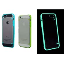 Tech Express (Tm) Green and Blue Set of Two Luminous Glow in the Dark Transparent Thin Slim Novelty Cover Cases for Apple Iphone 5